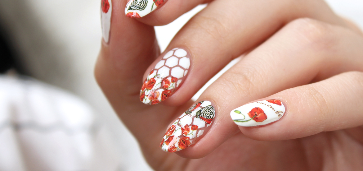 Red poppies water decals