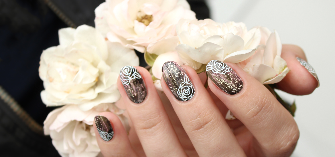 Goth nail design in black