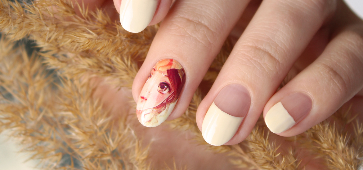 Anime girl nail water decals