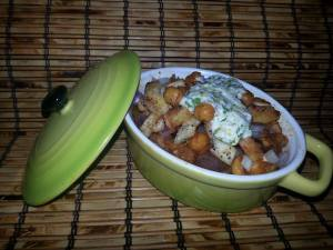 Eggplant & Chicken Three Bean Chili Topped with garlic & herb toasted pita croutons, spicy roasted chickpeas & Lemon infused Ricotta yogurt sauce.