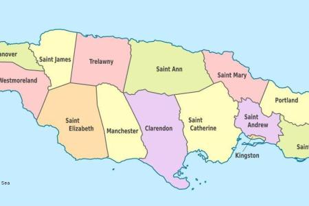 jamaica parishes map