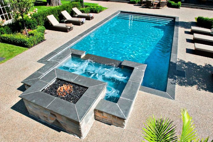 Pool with spa designs geometric pool and jacuzzi for small for Pool design 2015
