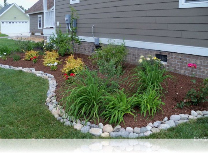 Landscaping White River Rock : Simple rock garden ideas with white river stone border