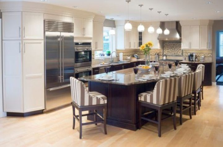 Kitchen island with seating for six with striped upholstery - Kitchen island designs with seating for 6 ...