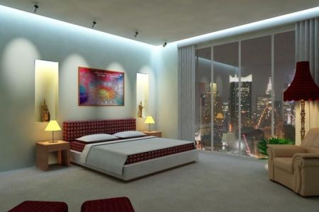 cool modern bedrooms with gl wall and red and white furniture ?x34469