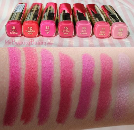 Milani Pink Lipstick Swatches