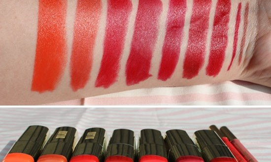 Milani red orange lipstick swatches