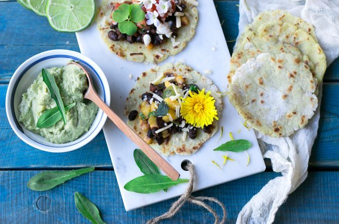 Vegan tacos with wild foods. Myberryforest.com
