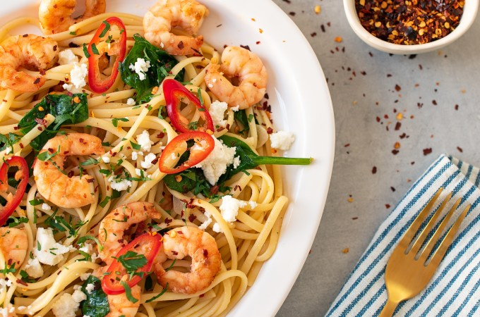 Seared Prawn Pasta with Chilli, Feta & Spinach