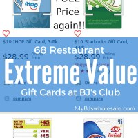 68 Restaurant Gift Cards you can buy for less then Face Value at BJs