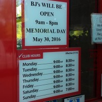 BJ's Hours For Memorial Day- Closing Early