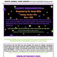 Oct 15 - Free Rabbit Seminar on Rabbit Emergencies