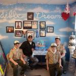 From left, Troop 102 member Austin Wagner, Edible Dreams owner Edward Hughes, Troop 102 members Justin Wagner and Francis Ouellette at the bakery on Spring Street.