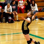 Woodland senior Jessica Patrizi prepares to spike the ball in the NVL tourney final against Seymour. Patrizi was named to the all-tournament team.