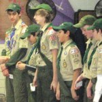 Nick Altieri, senior patrol leader and an Eagle Scout with Troop 258 of Prospect, hands out merit badges and awards during a Boy Scout Court of Honor, Jan. 20 at Algonquin School.  PHOTO CONTRIBUTED