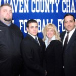 Jacob Pinho, second from the left, with his parents Jane and George to his left and coach Tim Shea. PHOTO CONTRIBUTED