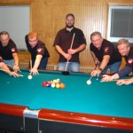 Members of the Polish Falcons pool team from left Lucas Hehl, Vic Kloc, Mike Schmitt, Brian Howard Jr., Bruce Kirk, Al Terry Sr. and Francis (Frenchie) Gagnon. PHOTO BY KEN MORSE