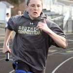 Nick LaPerriere practices the 4x4 relay.