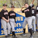 Giants players from the Peter J. Foley Little League have a little fun during opening day ceremonies last Saturday. PHOTO BY KEN MORSE