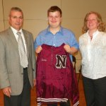 Naugatuck High School sophomore Zachary Hodoba, center, shows off his jacket for being in the top 5 percent of his class with Naugatuck High School Principal Fran Serratore, left, and Deborah Rutigliano, director of school counseling at the high school. Hodoba was one of many students honored during a May 20 ceremony at the high school. CONTRIBUTED