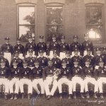 Former Beacon Falls Fire Foreman George Butz, center front row, holds the chief horn in this 1902 picture of the Beacon Falls Fire Department. Butz's son is returning the horn to the fire company this weekend. CONTRIBUTED