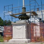The World War I monument in downtown Naugatuck, right, might not be repaired in time for Veterans Day. A grassroots committee raised more than $41,000 for the repairs, which were delayed while waiting for signatures and then by Hurricane Irene. - CN ARCHIVE