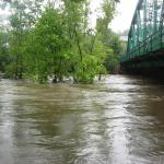 The Naugatuck River rose to its highest level in recent memory due to the heavy rains of Hurricane Irene. Credit: Kyle Brennan