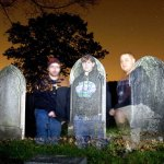 Beacon Falls Paranormal Society members Matt Dowdell, Kim Dahn, and Kevin Larocque, and investigate Gunntown Cemetary in Naugatuck, looking for signs of paranormal activity. The investigators appear ghostly because of a camera trick involving a flashlight and a slow shutter.
