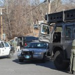 Police block off Church Street in Beacon Falls Monday morning. LARAINE WESCHLER