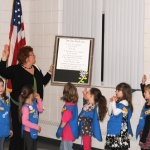 Girl Scouts from Beacon Falls and Prospect celebrated the 100th anniversary of Girl Scouts with a promise circle at the Prospect Firehouse March 12. The girls also submitted and voted on artwork, with the two pieces receiving the top votes being displayed at the Durham Fairgrounds during the Girl Scouts 100 year celebration this summer. –LUKE MARSHALL