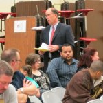 Board of Education Chair David Heller reads questions submitted by parents during an information session Monday at Central Avenue Elementary School. The school board's finance subcommittee is considering closing the school to save $1 million. –RA ARCHIVE