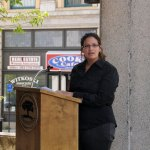 Naugatuck resident Vaneza Gouveia addresses the crowd during a ceremony on Earth Day, April 20, in front of Town Hall. Gouveia was honored as Naugatuck's Earth Day Mayor of the Day. –LUKE MARSHALL