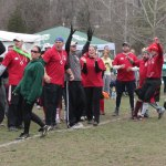 Players celebrate breaking the world record for the longest kickball game Sunday afternoon. –ELIO GUGLIOTTI