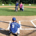 Five-year-old Jack Bshara of Beacon Falls throws the first pitch on June 14 before the game between the Hot Rods and the Bulls at the Pent Road Recreation Complex in Beacon Falls. Bshara, who spent 12 days in the hospital due to a mysterious illness, has received the continued support of the community. –LUKE MARSHALL