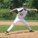 Prospect-Beacon Falls Posts 194-25's Dylan Cummings fires a pitch Sunday versus Naugatuck Post 17 at Woodland Regional High School in Beacon Falls. Naugatuck won the game 25-3. –KYLE BRENNAN