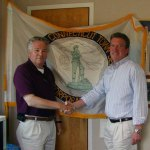 Prospect Mayor Robert Chatfield, left, congratulates the town's new Assessor James Clynes, of Southington. –CONTRIBUTED