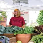 Brooke Lindstrom, of George Hall Farm, sells fresh, organic vegetables at the Naugatuck Farmers' Market on the Town Green July 11. The market is open every Wednesday from 10 a.m. until 2 p.m. and every Sunday from 9 a.m. until 1 p.m. through Oct. 24.