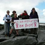 From left, Donna Landerman of Bloomfield, Pat Nelson of Barrington, N.H., Mal Sperling of Rindge, N.H., Adrienne Bobay of Danbury and Gail Novaco of Naugatuck at the top of Mount Washington. –CONTRIBUTED