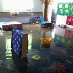 Tender Years Preschool in Naugatuck sustained heavy damage due flooding from the Aug. 1 storm. A toy and materials drive is being held Sunday, from 1 to 3 p.m., on the Naugatuck Green to help the preschool. –CONTRIBUTED