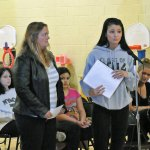 Alida Maldonado talks to members of the Naugatuck Board of Education last Thursday night as her mother, Cheryl Poirier, stands by her side. Maldonado and Poirier advocated for school uniforms. –LUKE MARSHALL
