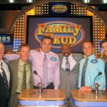 From left, David Ryder, Ed Magee, Kyle Whitteaker, Family Feud host Steve Harvey, Joe D'Ura, and Mike DePalma pose for a picture during a taping of the game show. –CONTRIBUTED