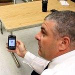 Lt. Bryan Cammarata shows off the iWatchNaugatuck app at the Naugatuck Police Department Friday morning. –ELIO GUGLIOTTI