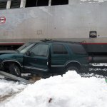 Jeffery Renker, 59, of Seymour was identified of the driver of this Chevrolet Blazer, which collided with a train Thursday in Beacon Falls. –KYLE BRENNAN