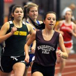 Naugatuck's Jordyn Allen won the girls 1000 meter during last year's NVL indoor track and field championships at the Floyd Little Athletic Center at Hillhouse High School in New Haven. The Naugatuck boys and girls teams finished second at the meet last year and will look to capture the titles on Tuesday. –RA ARCHIVE