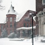 Snow falls in downtown Naugatuck Friday afternoon. Naugatuck schools have been canceled the rest of the week as the borough works to clear streets of snow. –ELIO GUGLIOTTI