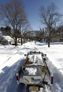 A plow truck was stuck on Chestnut Street in Naugatuck Sunday morning. –RA ARCHIVE