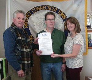 Prospect Mayor Robert Chatfield, left, pictured with Prospect residents Michael and Robin Tuohy, recently proclaimed March as Myeloma Awareness Month in Prospect. -CONTRIBUTED