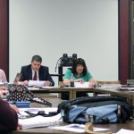 Members of the Naugatuck Tri-Board, which is made up of the boards of mayor and burgesses, finance and education, review the school board's requested $59.69 million 2013-14 budget Monday night at Naugatuck High School. –ELIO GUGLIOTTI