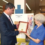 Mayor Robert Mezzo presents a Constitution Week proclamation recently to Joy MacDonald, chairman of the Constitution Week Committee for the Trumbull-Porter Chapter of the DAR. –CONTRIBUTED