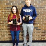 Naugatuck residents Makayla Teixeira and Frank Ruela received the Youth Referee of the Year award from Naugatuck Youth Soccer at its annual ceremony held Nov. 23 at City Hill Middle School in Naugatuck. -CONTRIBUTED